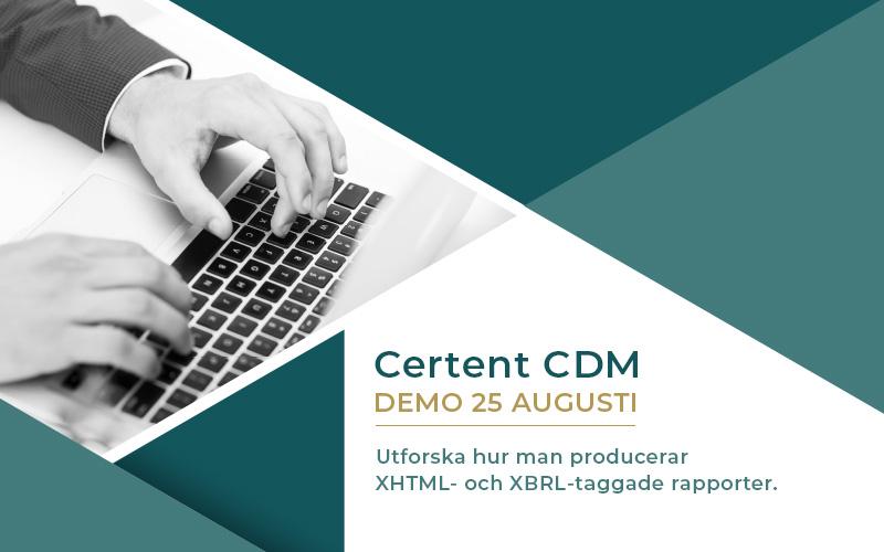 En kostnadsfri demo av Certent CDM. Certent är en marknadsledande programvara som hjälper till att automatisera årsredovisning.